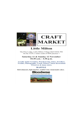 Little Milton Craft Fair in aid of Bloodwise 11 & 12 Nov