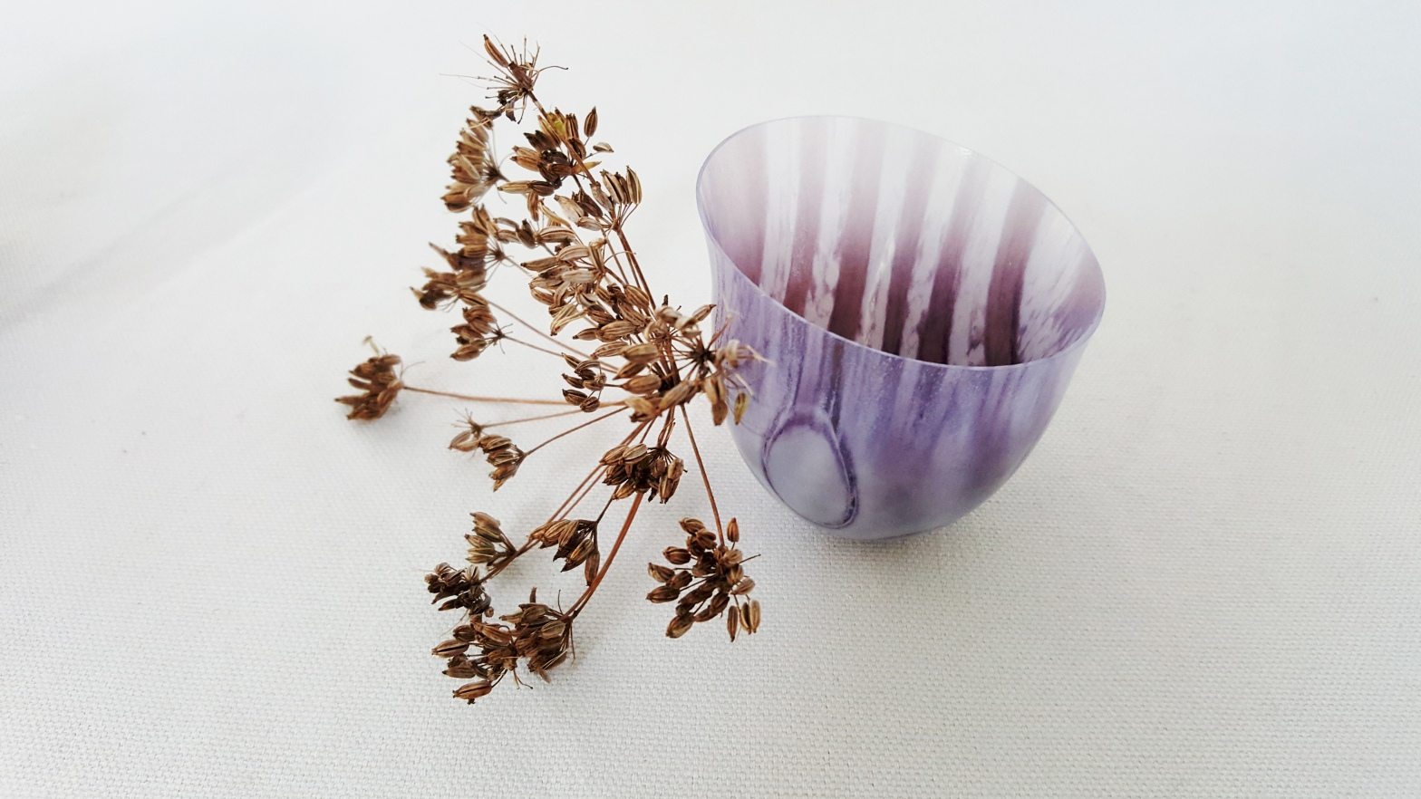 Lilac glass rocking bowl Pip Stacey Feathered Glass