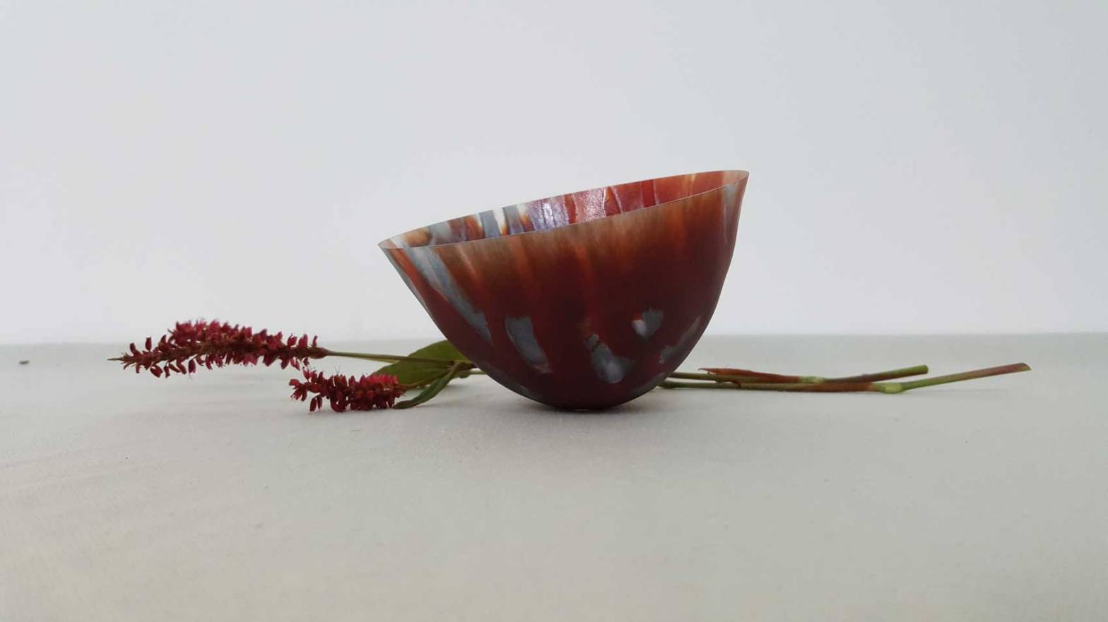 Rocking Bowl in Red 1 By Pip Stacey Feathered Glass