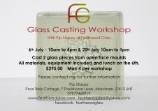 Glass casting workshop 4.19 for July 2019
